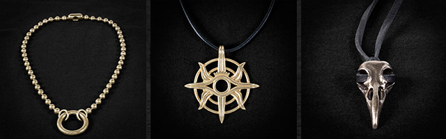 New Dragon Age: Inquisition jewelry available on Bioware's store!    All Prices in USD - See the list [ here ]     Varric's Necklace: $90     Eye of the Seeker Necklace: $90     Cole's Bird Skull Necklace: $75