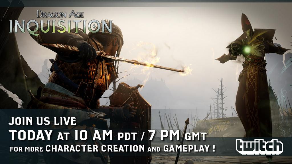 At work? Too bad. Bioware is doing a livestream in one hour for Dragon Age: Inquisition!      http://twitch.tv/bioware