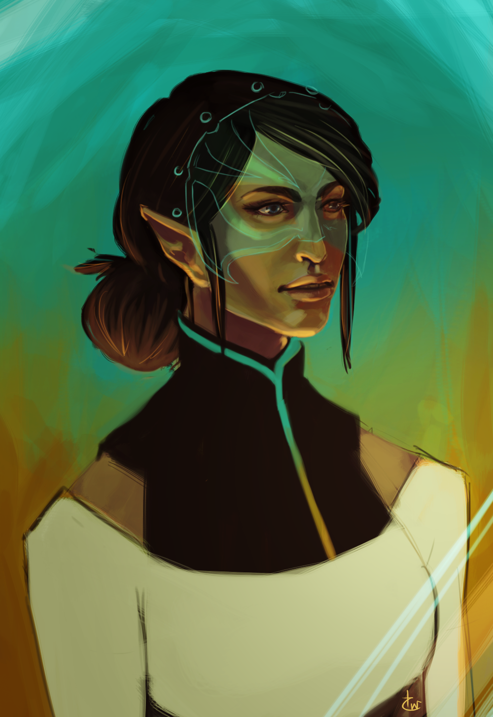 hemiart :   Briala is hands down one of my favorite characters in Dragon Age. If you haven't had a chance to read The Masked Empire, pick it up! I think it made Halamshiral/Wicked Eyes and Wicked Hearts all the more fun and interesting to play through. I used her tarot card for reference since she had a mask on during Inquisition.