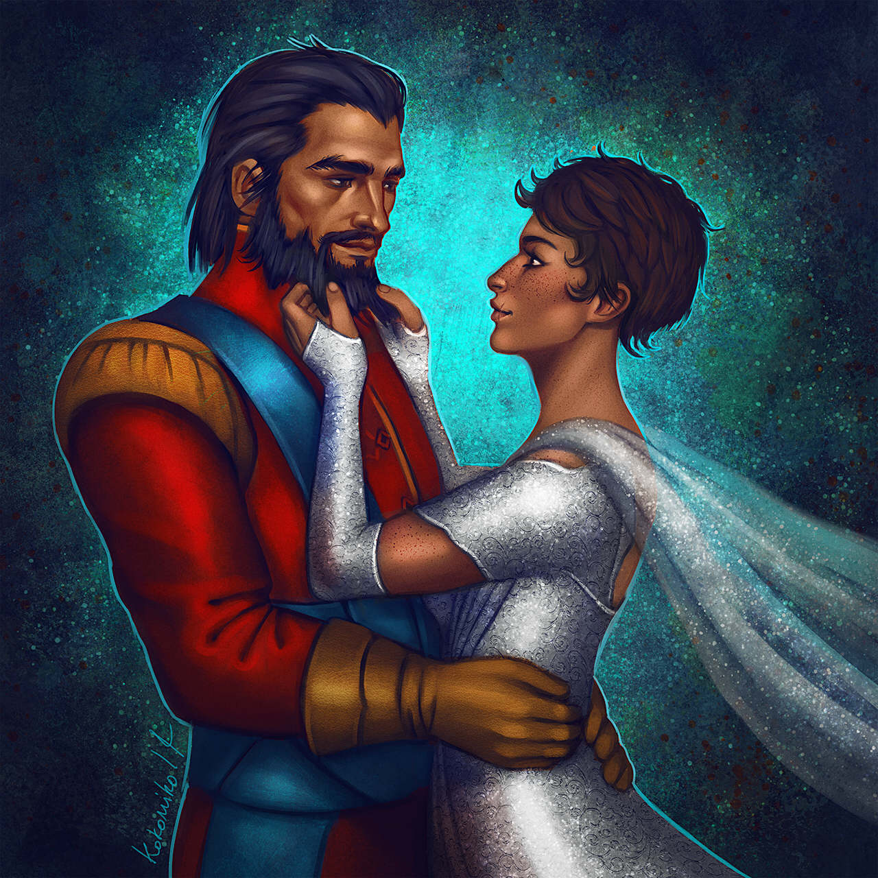 needlesslycryptic: Ylva Trevelyan and Blackwall, for lovely looktothehorizon, thank you so much for commissioning me again!