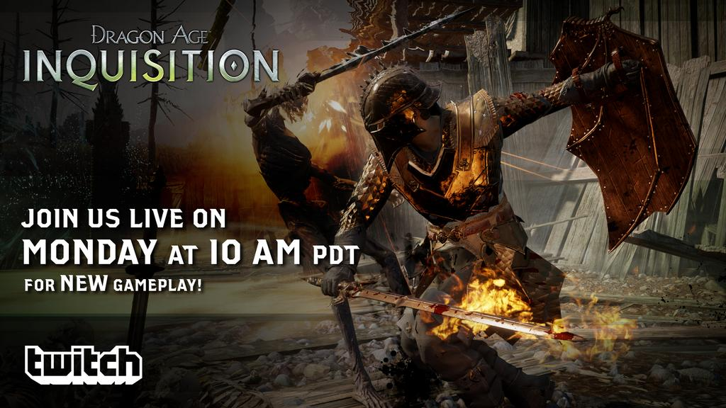 """ Help us create an Inquisitor during our    # DAI      @ twitch   livestream on Monday!    Follow us:    http://www.  twitch.tv/bioware           pic.twitter.com/Jqx7VWycEI  ""  -  DragonAge  on Twitter"
