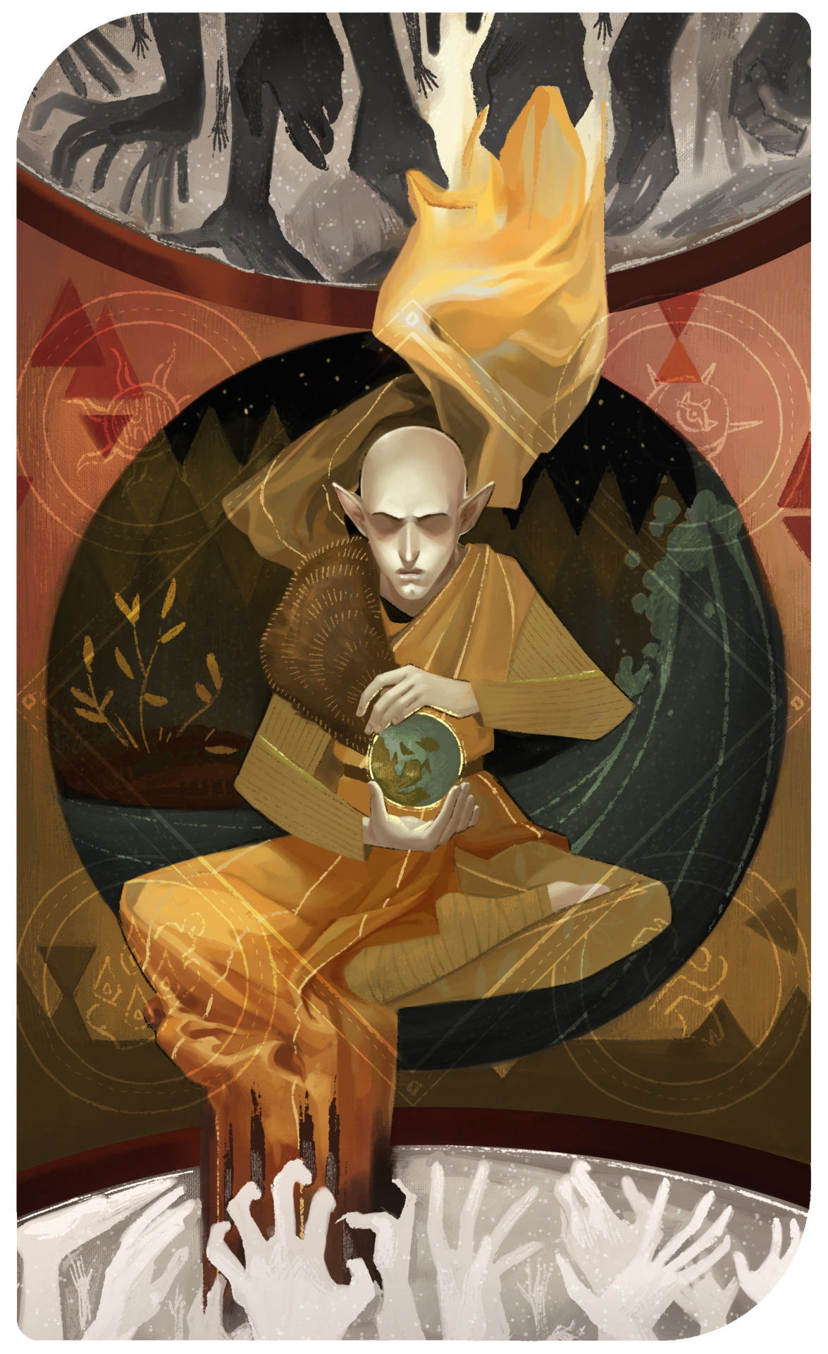 paperwick :      The World     He didn't do it to be right. He did it to save them.     This is a pre-game card for Solas. For spoiler reasons and also because everyone already knows, not much of an explanation for this one. Three zones from outer to inner: Beyond/Fade/Thedas.    Assana Lavellan Saga    Want a card of your own? Hire me! (It'd be somewhere between $80-200).   Anyway, probably more to come. Stay tuned!