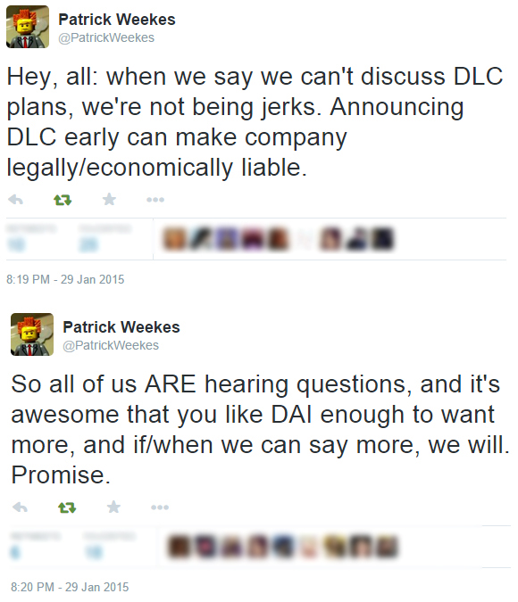 via Patrick Weekes, writer at Bioware.  Source:  Tweet 1  |  Tweet 2