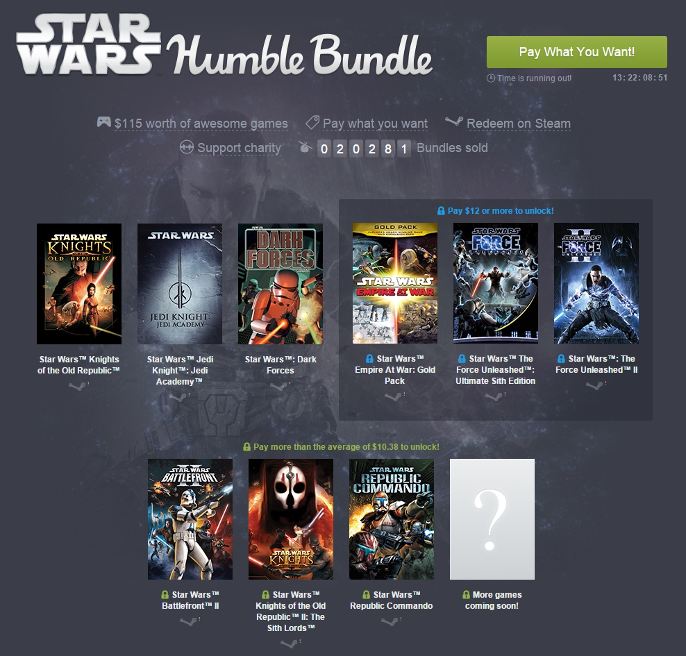 Star Wars: Knights of the Old Republic  is part of the latest Humble Bundle for Star Wars. Developed by Bioware and released back in 2003, KOTOR is one of the most fantastic RPGs you can enjoy. The game is also available on iOS and Android, but  purchasing through Humble Bundle contributes to the US Fund for UNICEF.   You can name your price to receive KOTOR/Jedi Knight: Jedi Academy/Dark Forces, or pay around 11 USD to also receive Knights of the Old Republic 2 (Made by Obsidian, not Bioware, but plays off the same system and gameplay as the first).   Buy Here: [ Humble Bundle ]