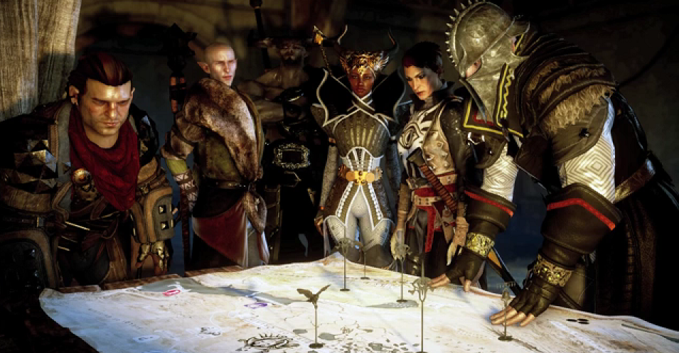 Via Felicia Day's video, a new screenshot from Dragon Age: Inquisition. Statement: Varric, Solas, Iron Bull, Vivienne, Cassandra, Inquisitor. Speculation: Two Grey Warden bases, three Inquisition bases, one Circle of Magi base (near Abyssal Rift). Theoretic Query: If these are markers for the bases, are they temporary marks indicating bases we can conquer?