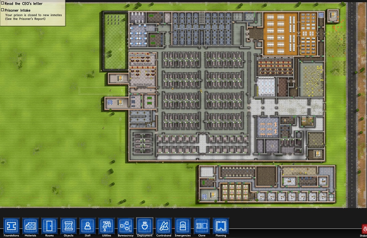 Been working on a mini-guide concerning the best flow structure (+ security) for a jail in Prison Architect. Just testing the waters, but this game is really challenging. The current style actually was inspired by the latest Hunger Games. The path that the prisoners take from waking up rotates clockwise according to the schedule. Shower -> Eat -> Work -> Freetime -> Yard -> Shower -> Eat -> Sleep. The big problem is the AI pathing, which I have yet to figure out. In most cases, the long hallways are a huge deterrent and staff tend to go all whistlin' dixie outside. Then again, I'm not sure how to not use big hallways like these without sacrificing the safety measures (the big rule on having all the cells in the middle so it's harder for them to tunnel out). Anyway, I hope to make a video on this soon. I miss doing guides and I want to make some for the games that a lot of people bought through Steam sales. Not a bad idea, I hope! (I think it's still on sale at a few sites even after Cyber Monday, so get it if you can. Reminder though: it's in Alpha. Pretty damn good for an Alpha, though.)