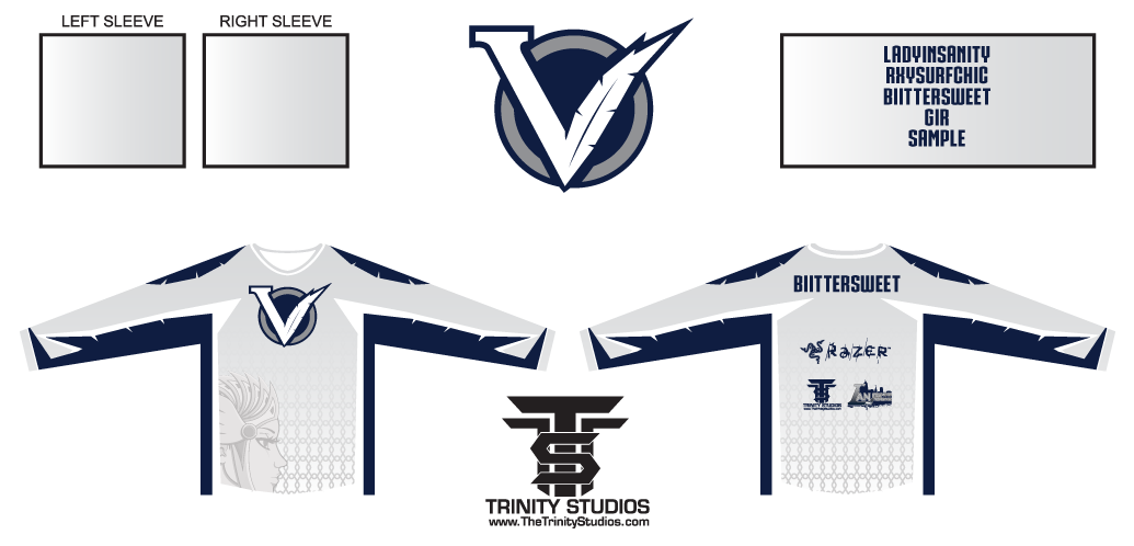 valkyriesteam: Preview Our new jersey! Thanks to @TrinityStudios for the fantastic re-design. [ Team Valkyries ] Bittersweet | Gir | Ladyinsanity | Rxysurfchic My team's jerseys for MLG Anaheim! While Celeste/BiiTTERSWEET can't join us this event, I and my team can't wait until we're reunited for upcoming events :)