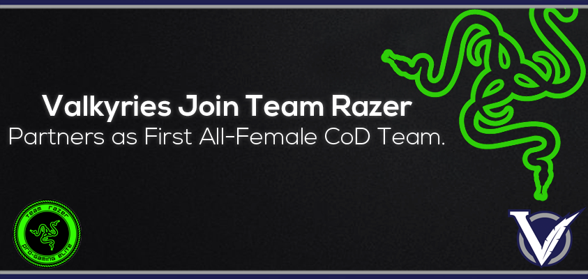 "The Valkyries are thrilled to announce our partnership with Razer. We're looking forward to the coming tournaments, representing Razer's top of the line gaming peripherals and brand. The following features Razer's feature on the partnership: Today Team Razer is proud to announce its addition to its' world class Call of Duty: Black Ops line-up with Team Valkyries. Team Valkyries is a female professional Call of Duty team that consist of veterans of the Call of Duty and Console scene. ""We are thrilled to be working with Razer and representing their fantastic line of gaming gear at future events and tournaments, "" Stated Valkyries player Ashley 'Ladyinsanity' Soriano. ""Individually, we have loved and utilized Razer products over the years. We look forward to the future, having Razer's support of our drive in both eSports and the console arena. As Razer is a company who holds an extraordinary connection with the eSports community, we are proud to be one of the teams continuing that love for competition and gaming."" Team Valkyries will be competing with Razer's top of line peripherals such as the Razer Sabertooth Elite Gaming Controller for the Xbox 360. Do you have a favorite member of Team Valkyries or a favorite moment from one of the teams' games? Let us know in the comments below! Be sure to like and follow Team Valkyries on Facebook and Twitter Facebook: https://www.facebook.com/TeamValkyries Twitter: https://twitter.com/teamvalkyries Check out their team bio page here: http://www.razerzone.com/team/profile/team-valkyries/"