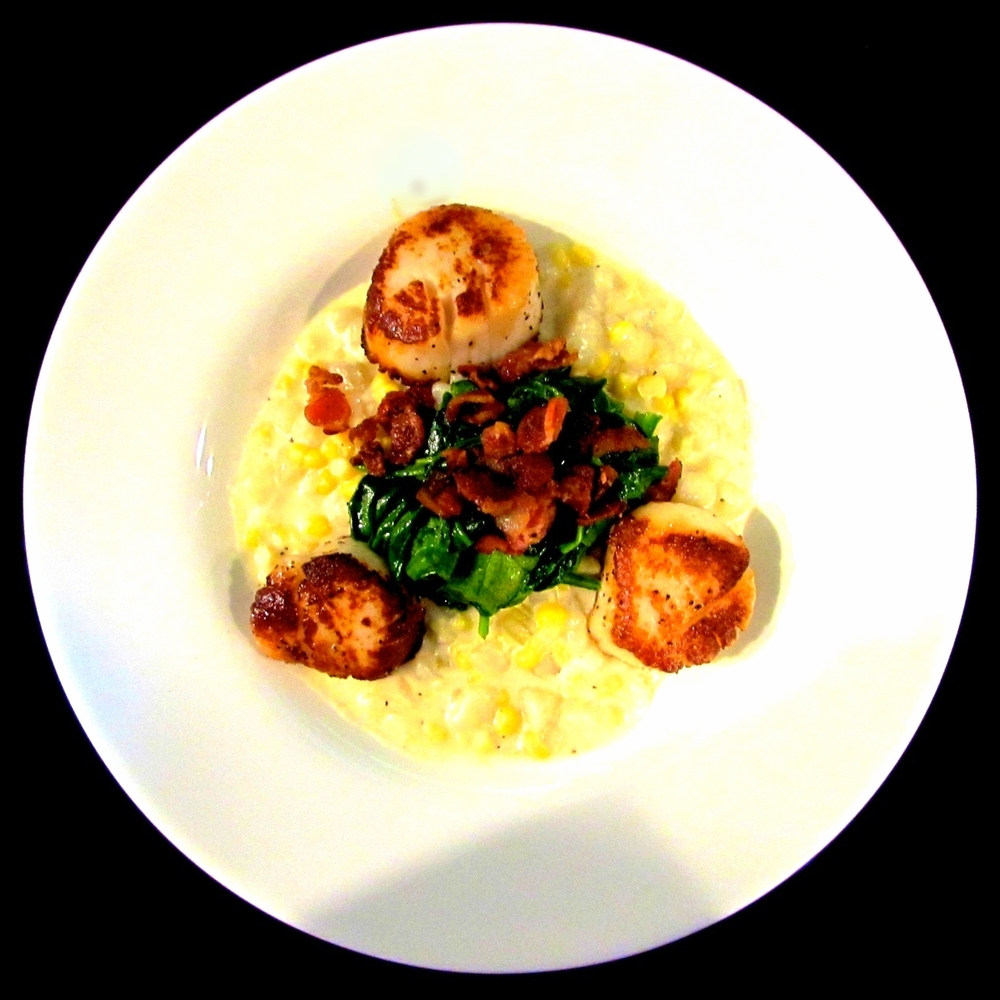 pan-seared sea scallops.