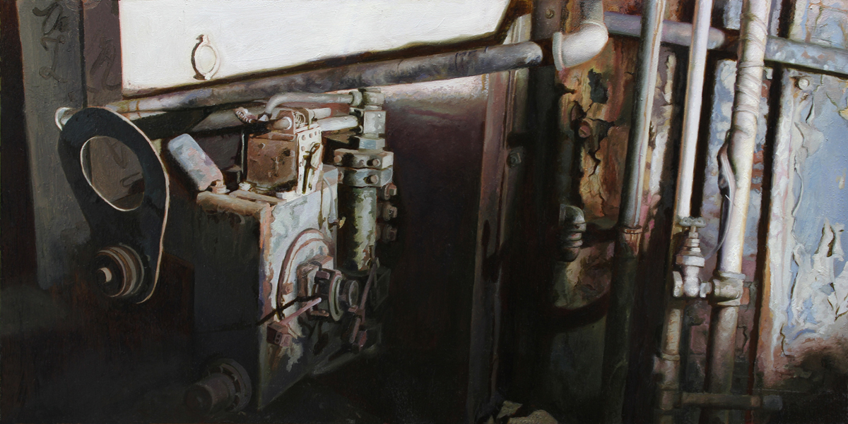 The metal box and pipes, oil on mylar, 6 x 12 inches, 2014 WEB
