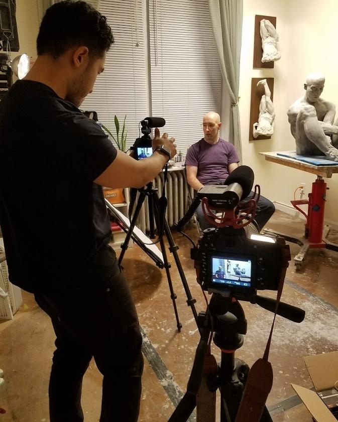 Filming a tutorial in  Brett F Harvey's  studio.