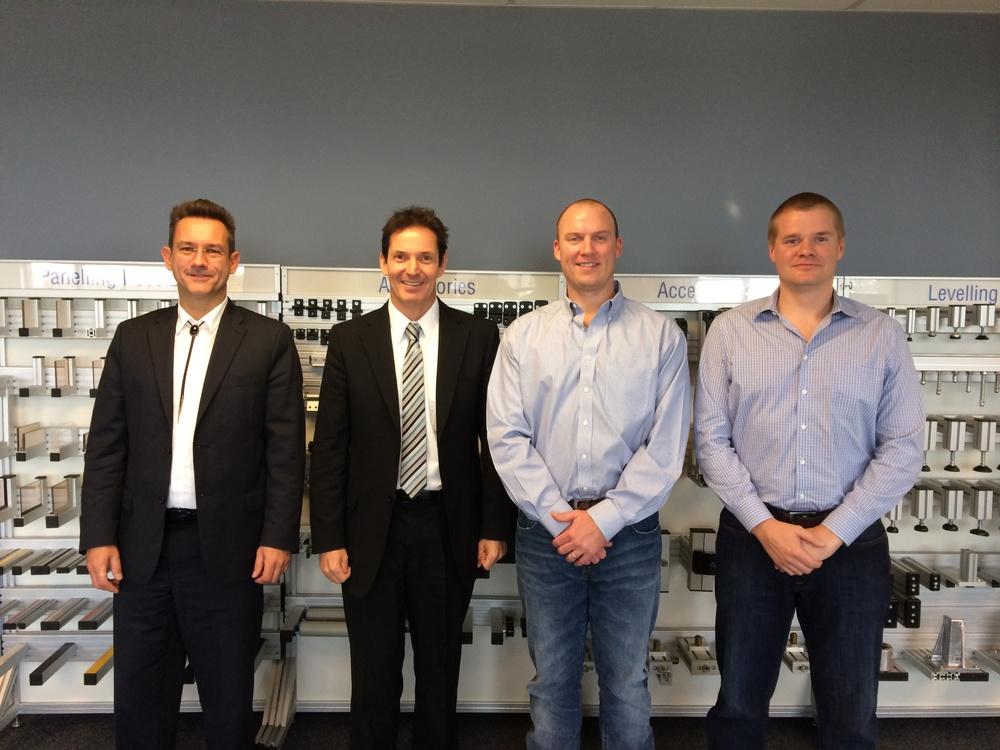 (L-R) Erik Sanke, CEO MayTec N.A.; Harold Ley, President and Owner; Matt Fitzgerald; Arnar Thors
