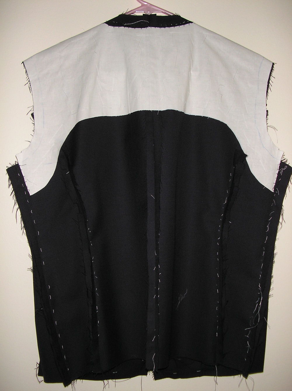 Inside back: muslin and basting