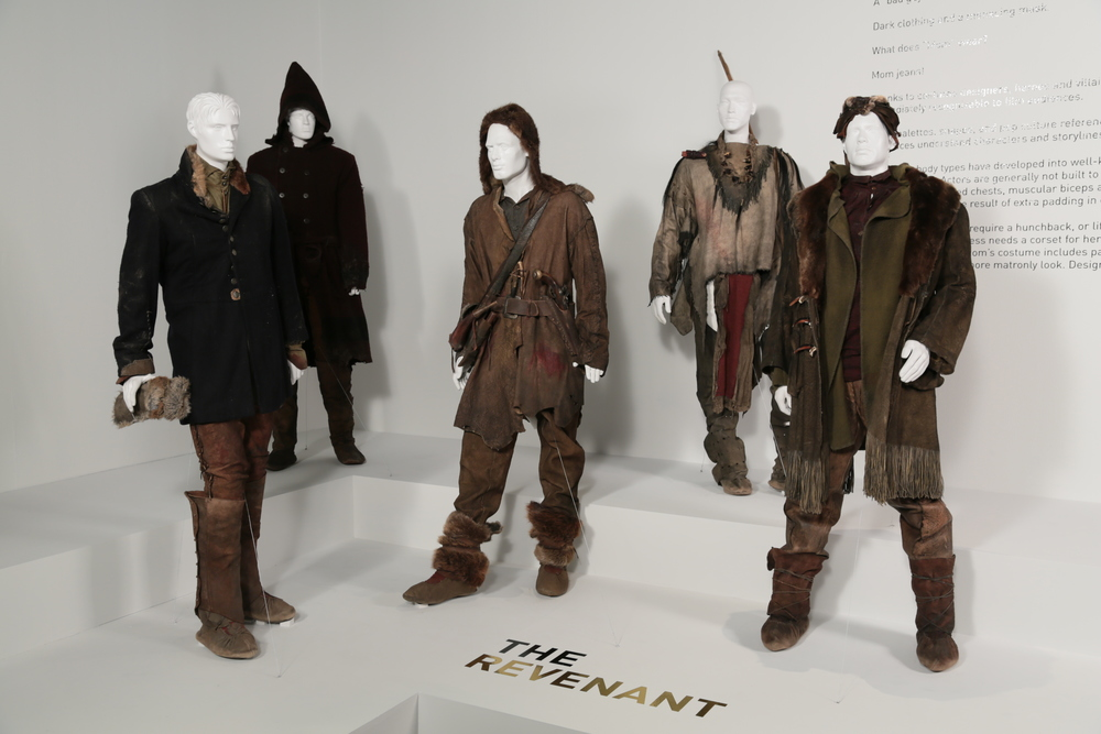 "ÒThe RevenantÓ costumes by Jacqueline West, Academy Award nominee for Costume Design. These costumes can be seen in the 24th Annual ""Art of Motion Picture Costume Design"" exhibition, FIDM Museum, Fashion Institute of Design & Merchandising, Los Angeles. The exhibition is free to the public, Tuesday, February 9 through Saturday, April 30, 2016, 10:00 a.m. - 5:00 p.m. ..(L to R) Costumes worn by actors: Domhnall Gleeson as Captain Andrew Henry, Fabrice Adde as Toussaint, Leonardo DiCaprio as Hugh Glass, Duane Howard as Elk Dog, Tom Hardy as John Fitzgerald.(Photo: Alex J. Berliner/ABImages"