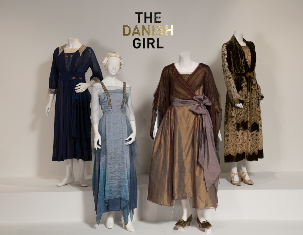 "The Danish Girl costumes by Paco Delgado, Academy Award nominee for Costume Design. These costumes can be seen in the 24th Annual ""Art of Motion Picture Costume Design"" exhibition, FIDM Museum, Fashion Institute of Design & Merchandising, Los Angeles. The exhibition is free to the public, Tuesday, February 9 through Saturday, April 30, 2016, 10:00 a.m. - 5:00 p.m. ..(L to R) Costumes worn by actors: Eddie Redmayne as Lili Elbe, Alicia Vikander as Gerda Wegener, Eddie Redmayne as Lili Elbe.(Photo: Alex J. Berliner/ABImages)"
