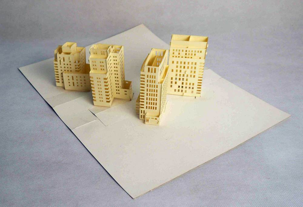 A sample of four buildings on one 3D pop-up card
