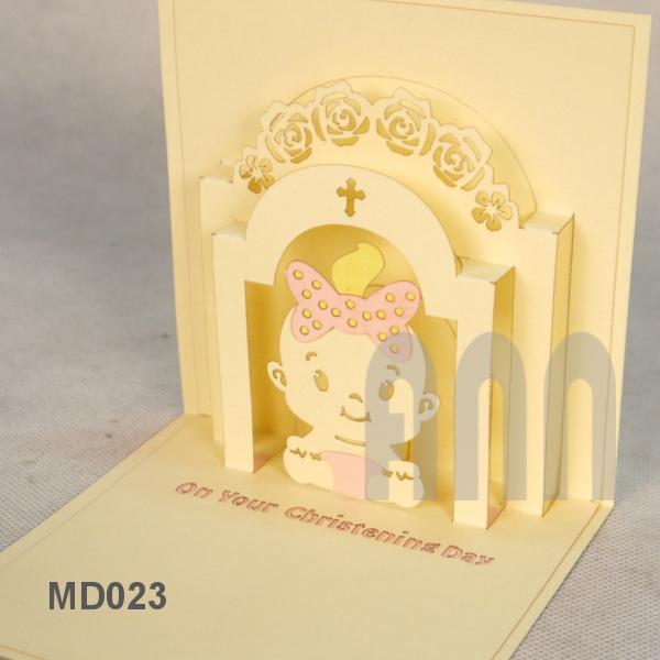 Md024 christening baby girl ann handicraft christening baby girl 3d pop up greeting card m4hsunfo