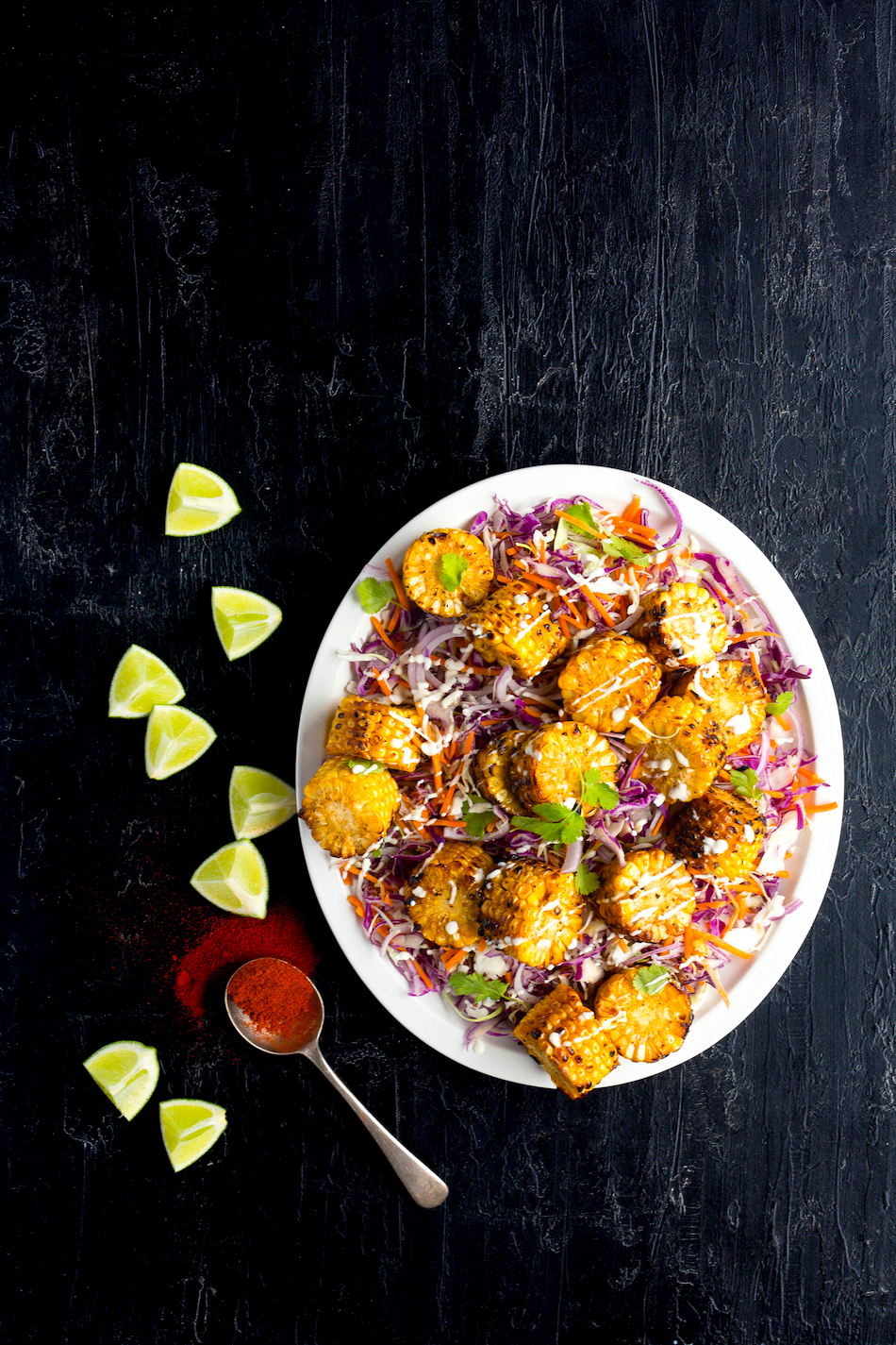 smokey bbq corn coleslaw with honey lime dressing