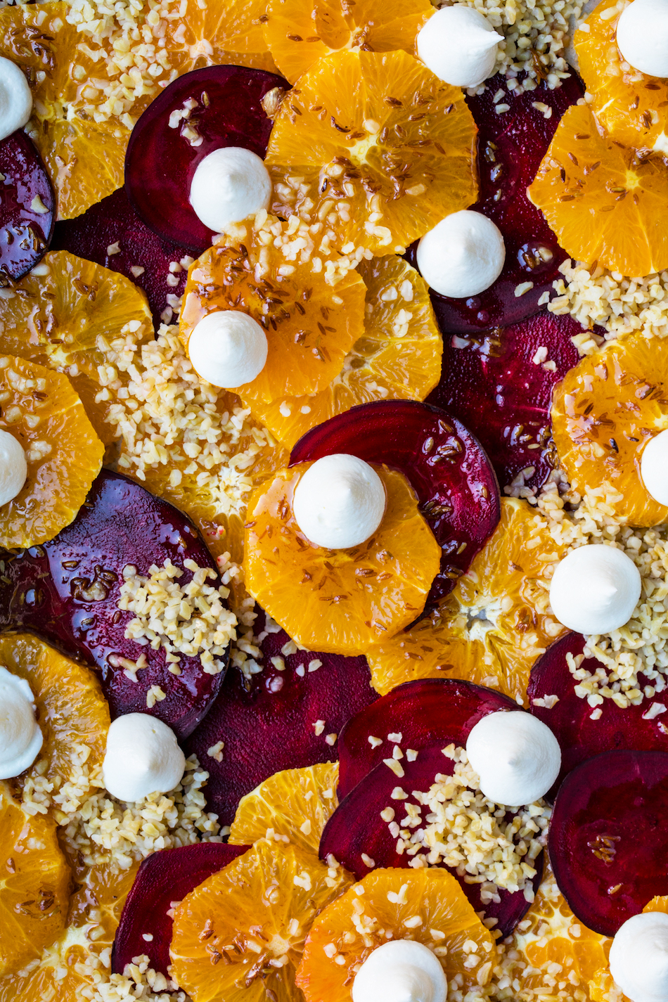 orange and beet salad with honey cumin dressing and whipped goat's cheese