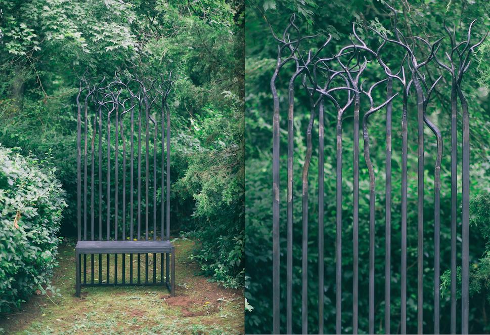 metal branch bench