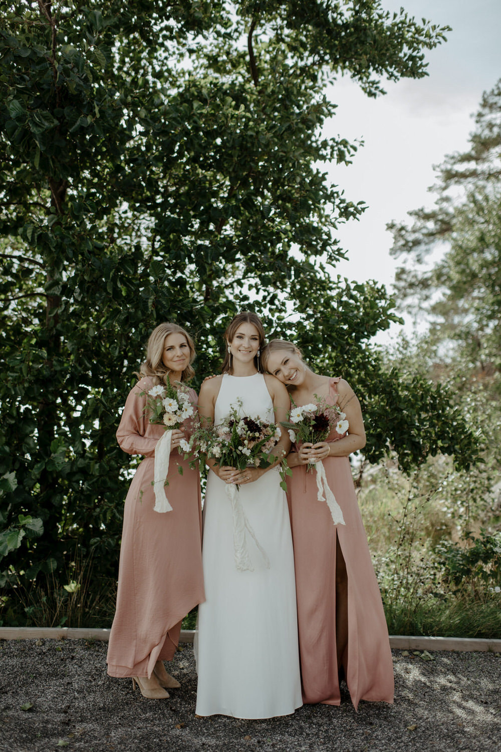 BHLDN Iva Crepe Maxi wedding dress, pink bridesmaids dresses and flowers by VeloBloom.