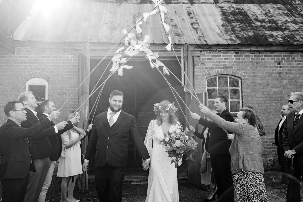 Black and white film wedding photography