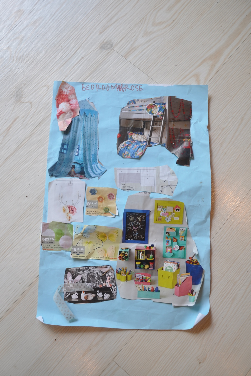 ... and her vision board for her  own bedroom redesign. The apple doesn't fall far from the tree!
