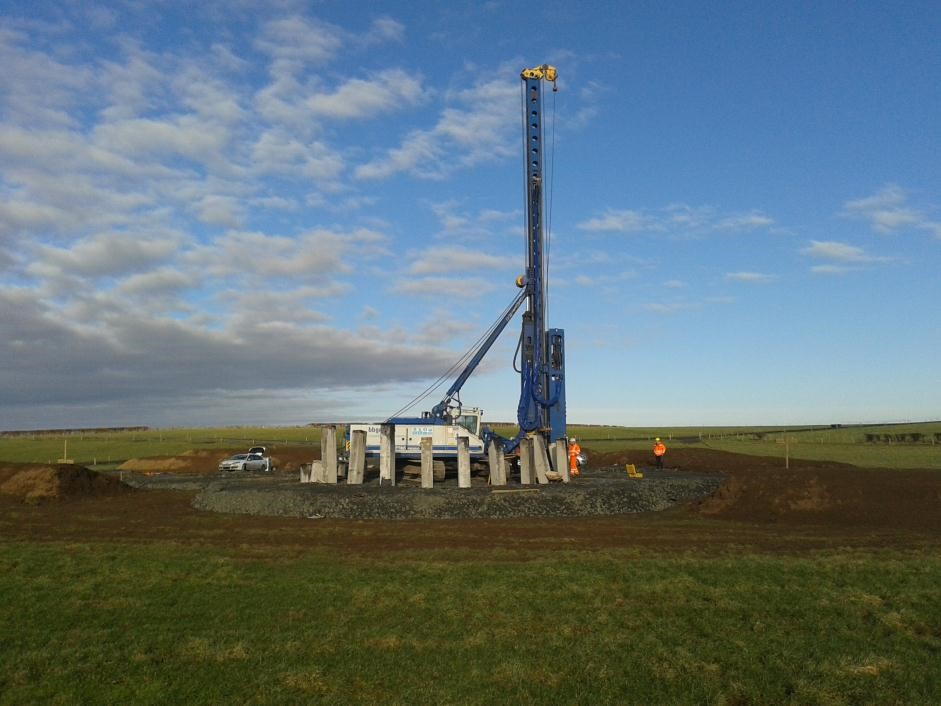 The Draffan Turbine piling begins in preparation for installation of the turbine base (February 15th)