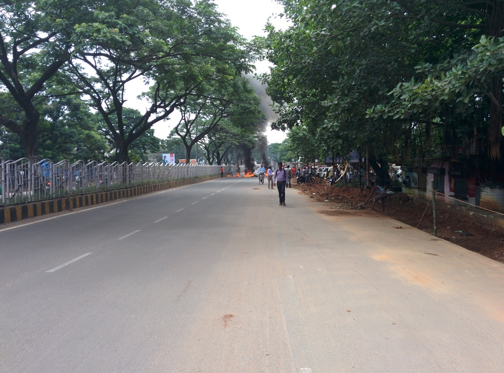 The bandh commences: a long walk to the conference