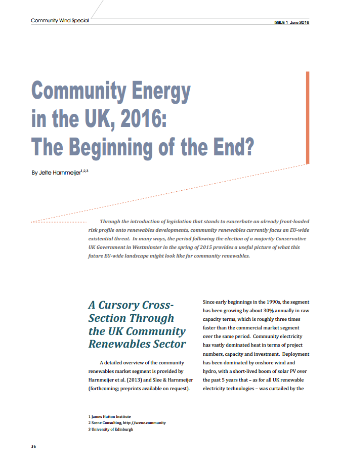 Community Energy in the UK, 2016: The Beginning of the End?