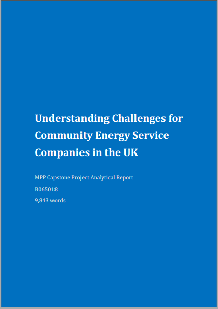 Understanding Challenges for Community Energy Service Companies in the UK