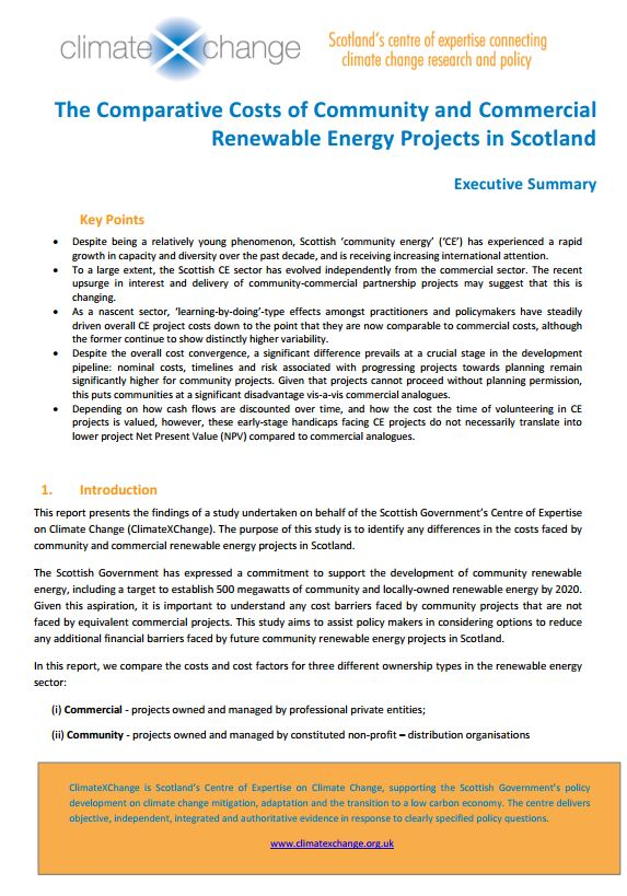 The Comparative Costs of Community and Commercial Renewable Energy Projects in Scotland