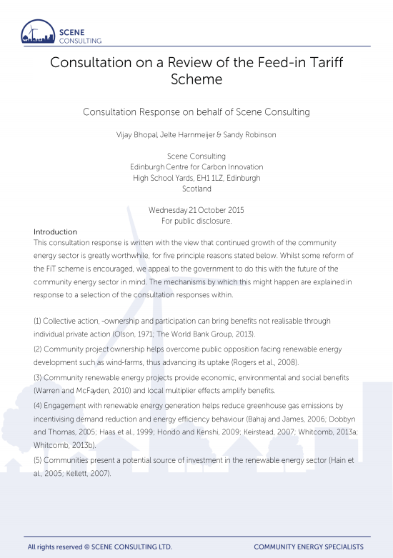 Consultation on a Review of the Feed-in Tariff Scheme: Consultation Response on behalf of Scene Consulting