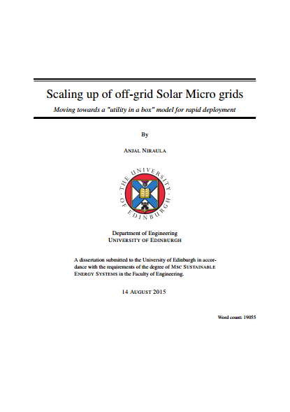 "Scaling Up of Off-Grid Solar Micro Grids: Moving towards a ""utility in a box"" model for rapid deployment"