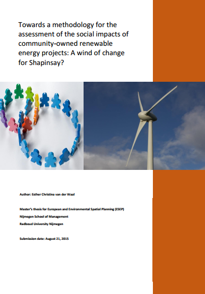 Towards a Methodology for the Assessment of the Social Impacts of Community-owned Renewable Energy Projects: A wind of change for Shapinsay?