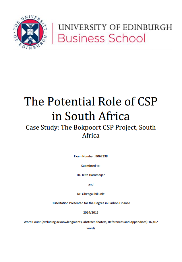 The Potential Role of CSP in South Africa. Case Study: The Bokpoort CSP Project, South Africa
