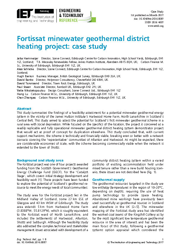 Fortissat minewater geothermal district heating project: case study