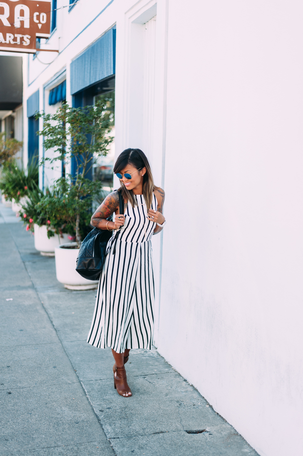 Strappy-Back Striped Jumpsuit from Forever 21