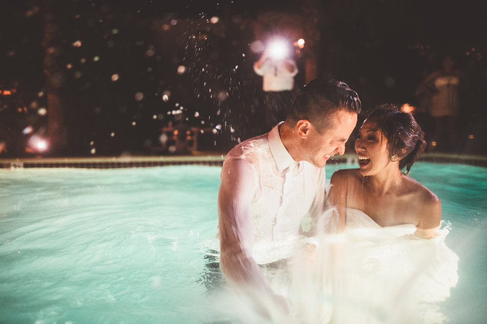 That moment when Jonathan jumped into a pool to capture this shot of the bride and groom jumping into the pool on their wedding day! #doitforthephoto