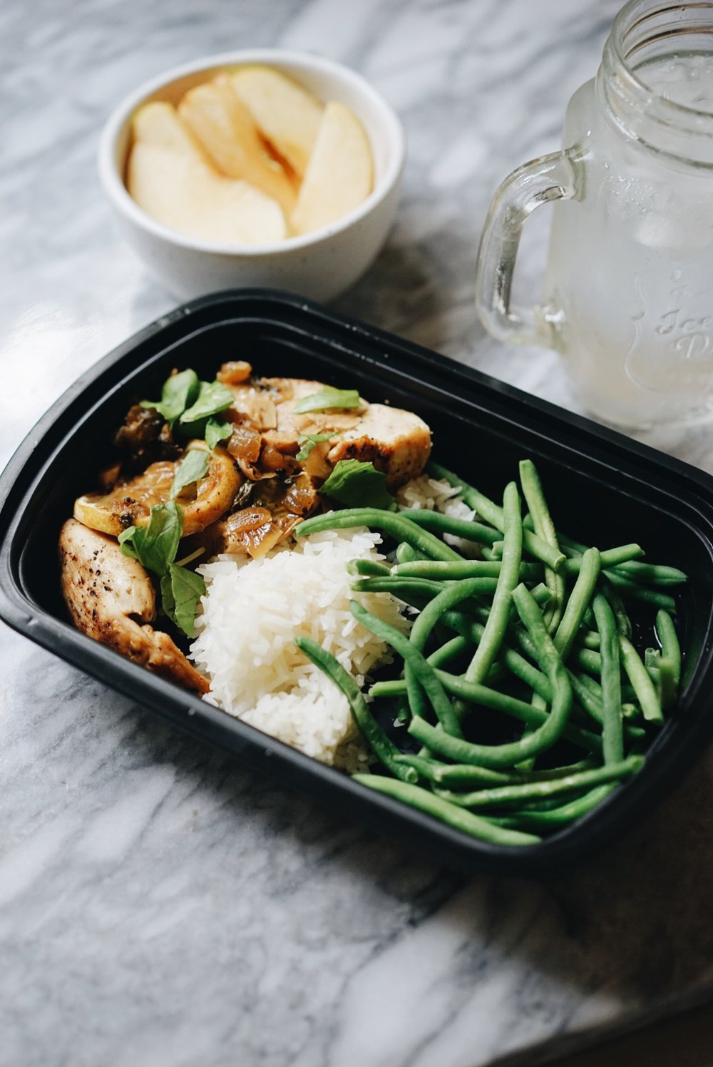 4 oz of chicken, 3 oz of white rice, and 4oz of steamed green beans and 1/2 of a fuji apple.   The macros: 274 calories for the entire meal, 34g of carbs, 31g of protein, and 2g of fat