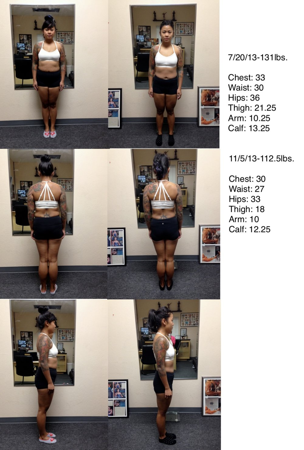 My first set of progress pictures after a 12 week transformation program