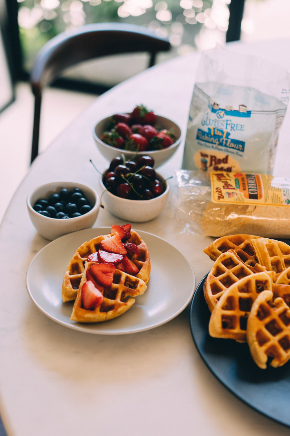 Simple Gluten-Free Cornmeal Waffles by GOFITJO