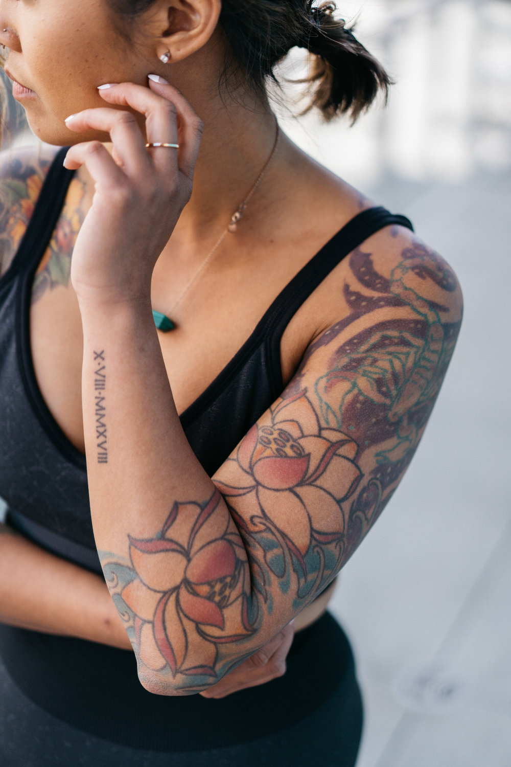 My left sleeve: lotus flowers and water
