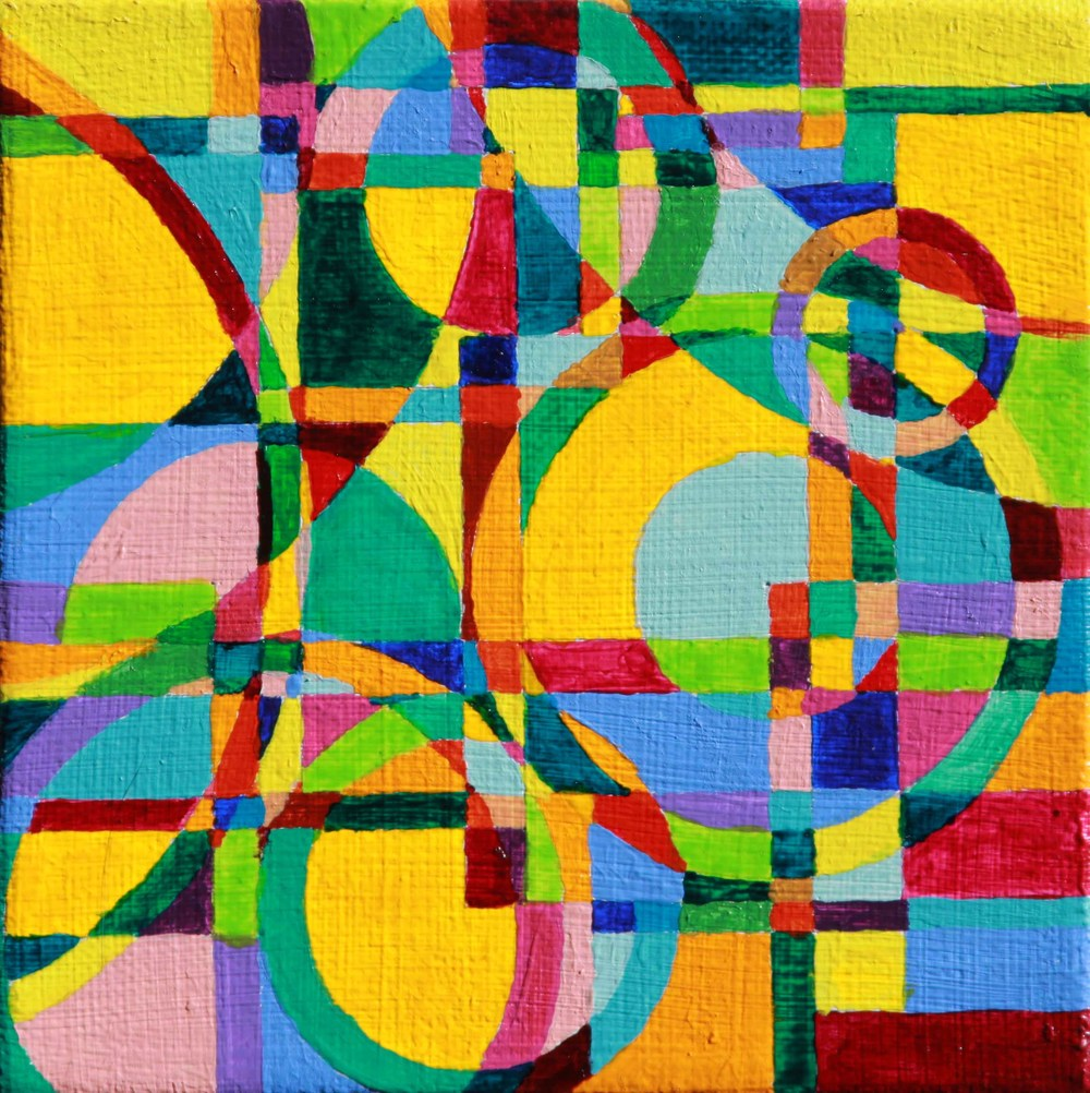 """Refraction 4 Acrylic paint on canvas 5"""" x 5"""" 2011"""