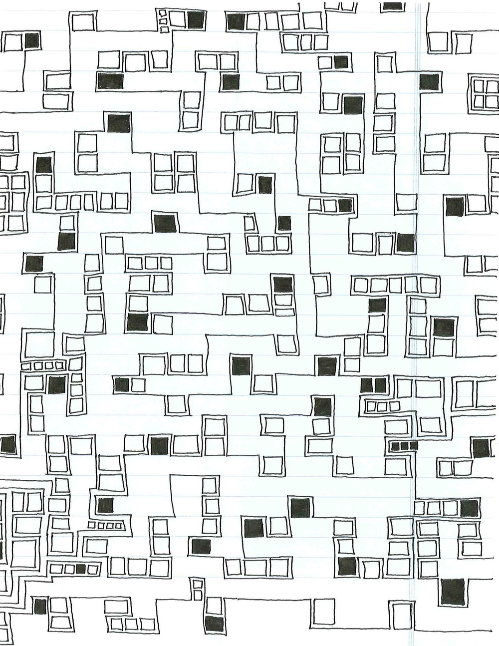 """Office 8 Ink on paper 8 1/2"""" x 11"""" 2009"""