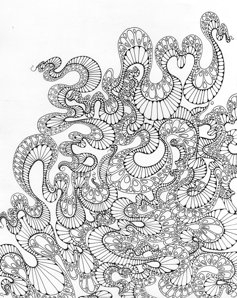 "Dragon Tails Ink on paper 11"" x 14"" 2012"