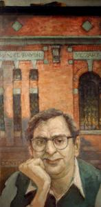 A 1982 self-portrait by Henry Schwartz with Symphony Hall behind him bearing composers' names.