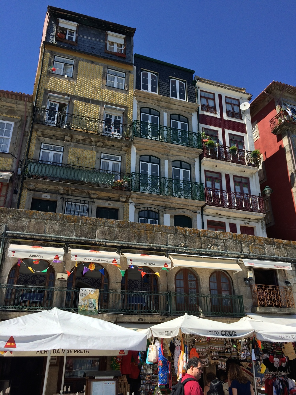 Apartments and shops in the Ribeira district next to the Douro River.