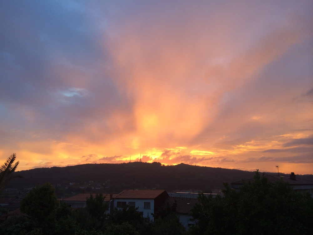 Spanish sunset in Santiago de Compostela.