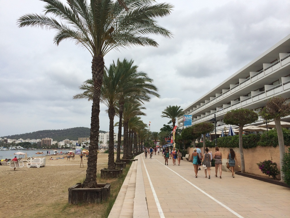 The main thoroughfare of St. Antoni along the beach.